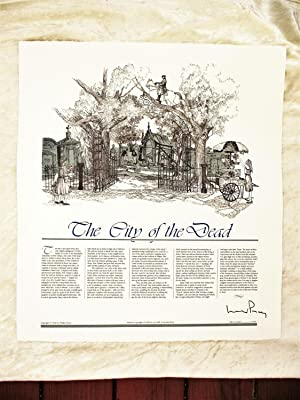 WALKER PERCY - SIGNED - CITY OF THE DEAD / New Orleans - LARGE ENGRAVED BROADSIDE 1/100 - Printer...