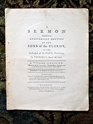 1771 SERMON PREACHED to the SONS OF THE CLERGY in the CATHEDRAL ST. PAUL, LONDON
