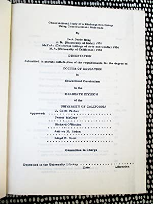 1960 DOCTORAL THESIS in EDUCATION at UC Berkeley STUDY of KINDERGARTNERS using CONSTRUCTION MATER...