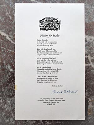 1965 Eberhart SIGNED Poem BROADSIDE Fishing For Snakes ADAMS & LOWELL PRINTERS