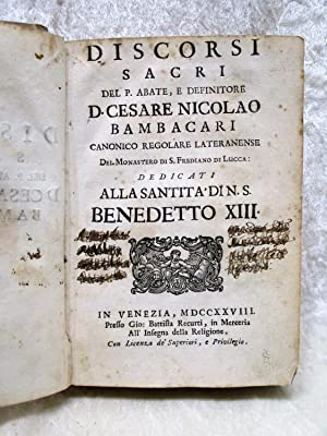 1728 DISCORSI SACRI / SACRED SPEECHES of SAINTS & RELIGIOUS LEADERS Vellum Covers VENICE