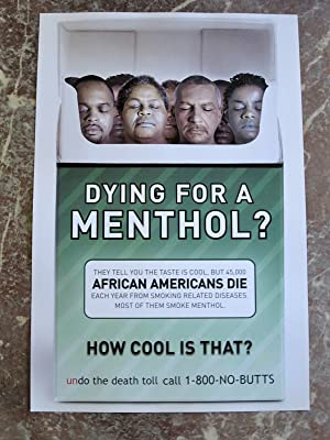DYING FOR A MENTHOL? Rare DEAD PEOPLE CIGARETTE PACK Anti Smoking POSTER African American Ad Camp...