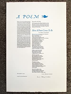 1980 LAURA RIDING JACKSON - POETRY BROADSIDE **SIGNED** Her First POEM in 40 Years #23 of only 15...
