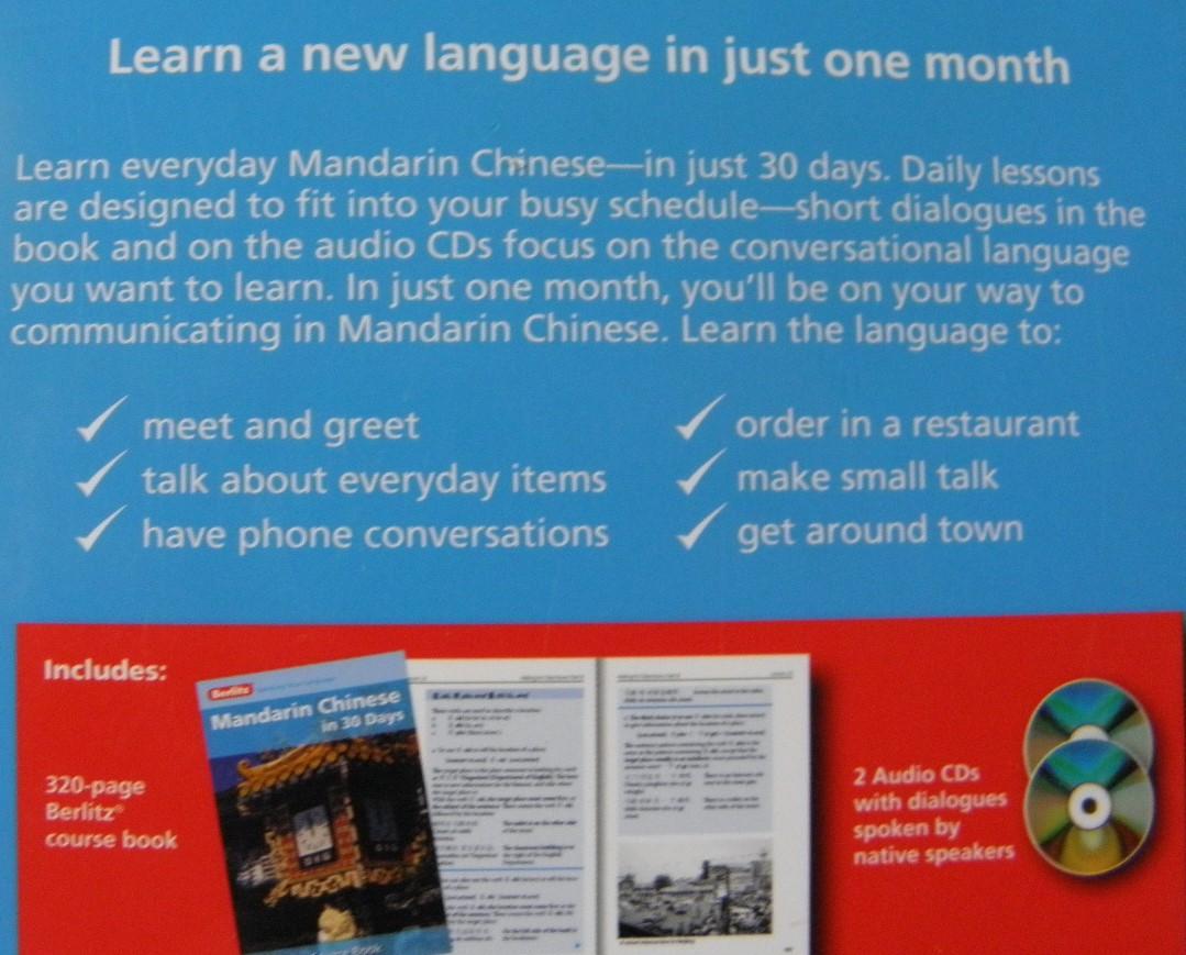 Berlitz Mandarin Chinese In 30 Days Berlitz In 30 Days Chinese