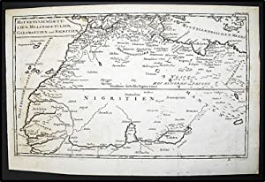 Mauretanien Gaetulien, Melanogaetulien Garamantien und Nigritien. [1756 German Map of North Afric...