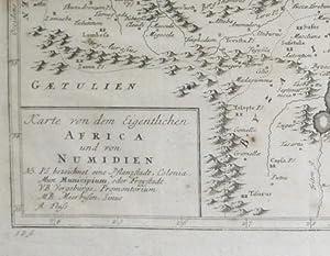Karte von dem Eigentlichen Africa und von Numidien [1756 German Map of North Africa from Tunisia to...