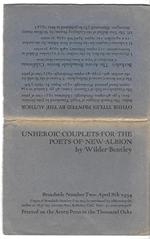 Unheroic Couplets for the Poets of New: Wilder & Bentley
