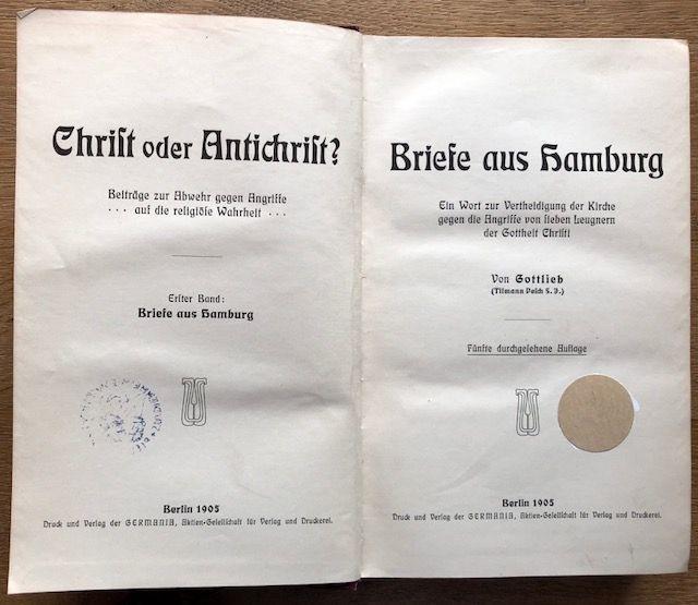 Briefe aus Hamburg. Ein Wort zur Vertheidigung: Gottlieb.