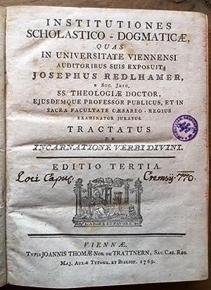 Institutiones scholastico-dogmaticae. Tractatus de incarnatione verbi divini.: Redlhamer, Joseph, S.J.