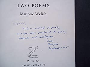 Two Poems (Signed): Welish, Marjorie
