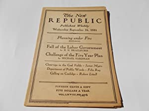 The New Republic (Wednesday, September 16, 1931, No. 876) (Magazine): Bliven, Bruce, Malcolm Cowley...