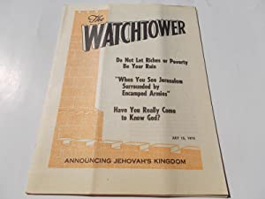 The Watchtower (July 15, 1974): Announcing Jehovah's: Watch Tower Bible