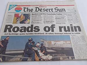The Desert Sun (Tuesday, January 18, 1994) Palm Springs Newspaper (Cover Headline: Roads of ruin - ...
