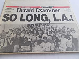 Herald Examiner (Thursday, November 2, 1989) Los Angeles Newspaper (Final Edition, Final Issue - ...