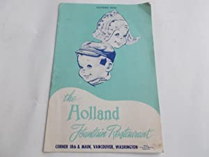 The Holland Fountain Restaurant Souvenir Menu (1950s): The Holland Fountain
