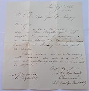 Original Written and Signed Letter (January 11, 1927) to San Carlo Grand Opera Company from J.M. ...