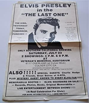 Elvis Presley in 'The Last One' Original Poster Circa 1980s (Charlie Hodge Host; Brian Beirne fro...