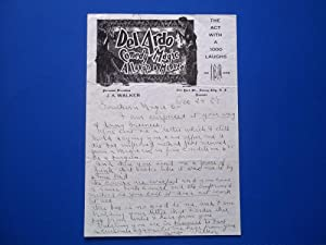 Original Handwritten Letter (December 24, 1927) Signed By Agent J. A. Walker For The Del Ardo Magic...