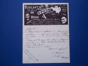 "Original Handwritten Letter (Circa 1950s) Signed By Magician Boscart (""Dr. Bosco"") (..."