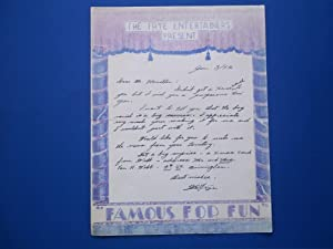 Original Handwritten Letter (January 3, 1952) Signed By Magician W. E. Frye For The Frye ...