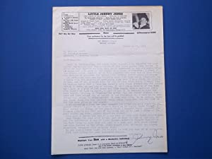 Original Typed Letter (November 23, 1961) Signed By Magician Little Johnny Jones (Bangor, Michigan)...
