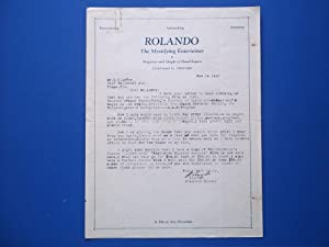 Original Typed Letter (November 14, 1930) Signed By Magician Rolando: The Mystifying Entertainer (...