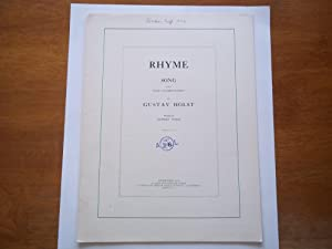 Rhyme: Song with Piano Accompaniment By Gustav: Humbert Wolfe (Words)