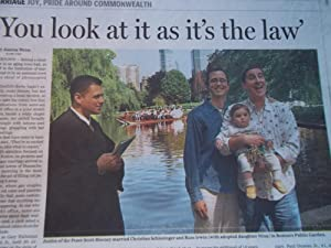 "The Boston Globe (Tuesday, May 18, 2004) Newspaper Headline: ""Wedding Day:"" (Gay Marriage..."