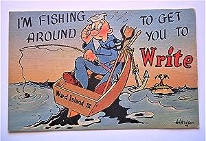 "Original Postcard (Circa 1944): ""I'M FISHING AROUND TO GET YOU TO Write"" Naval Air ..."