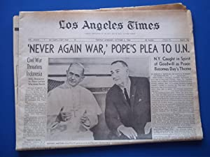 "Los Angeles Times Newspaper (Tuesday Morning, October 5, 1965) Front Cover Headline: ""'..."