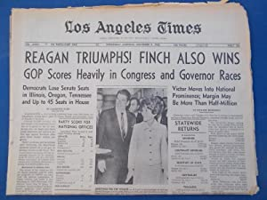 Los Angeles Times Newspaper (Complete Part One: Wednesday Morning, November 9, 1966) Front Cover ...