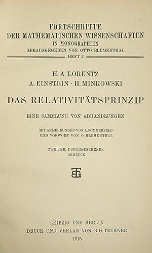 Das relativitatsprinzip: eine sammlung von abhandlungen: EINSTEIN, A., LORENTZ, H.A., MINKOWSKI, H.