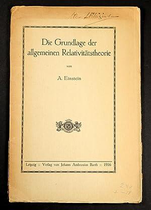 Die Grundlage der allgemeinen relativitatstheorie: EINSTEIN, Albert