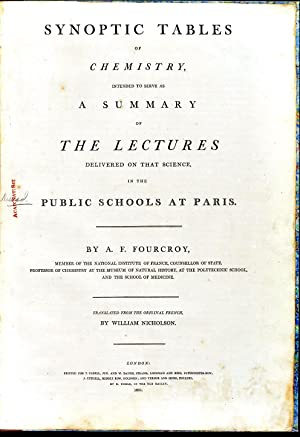 Synoptic tables of chemistry, intended to serve as a summary of the lectures delivered on that ...