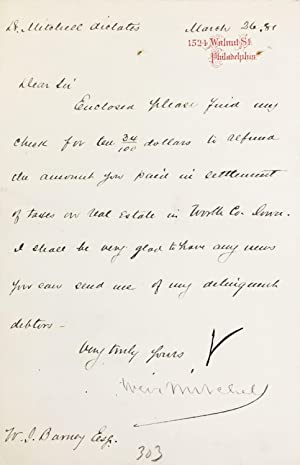 MANUSCRIPT. Four notes in secretarial hand, to Mitchell's lawyer: MITCHELL, S[ilas] Weir