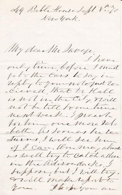 """AUTOGRAPH LETTER SIGNED BY AMERICAN PASTOR RAY PALMER, AUTHOR OF """"""""MY FAITH LOOKS UP TO THEE"""""""". Palmer, Ray. (1808-1887). American pastor and author of"""