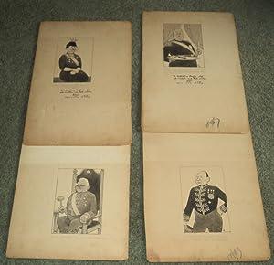 4 ORIGINAL SIGNED PEN & INK WASH: Roosevelt, Franklin Delano).