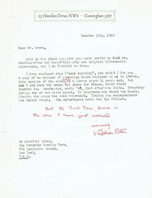 TYPED LETTER SIGNED by British author/humorist STEPHEN: Potter, Stephen. (1900-1969).