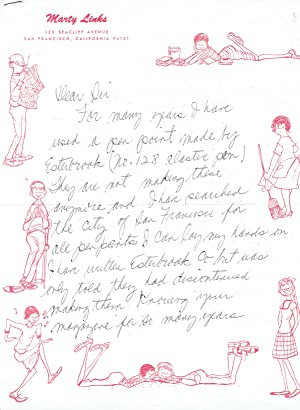 AUTOGRAPH LETTER SIGNED TO AMERICAN ARTIST MAGAZINE: Links, Marty [aka