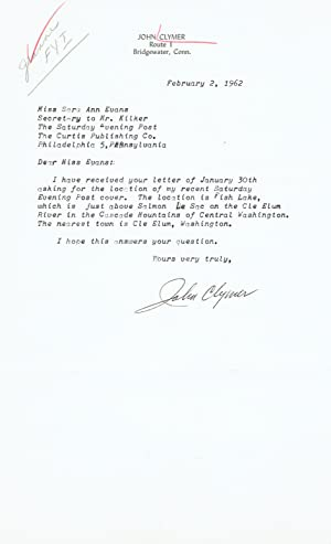 TYPED LETTER SIGNED TO THE SATURDAY EVENING: Clymer, John. (1907-1989).