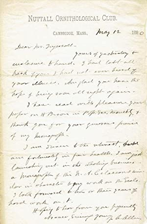 AUTOGRAPH LETTER SIGNED from American Zoologist Joel Asaph Allen to the American naturalist Ernes...
