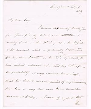 A 2-1/2 PAGE AUTOGRAPH LETTER SIGNED by: Taylor, Herbert (1775-1839).