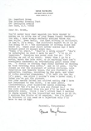 TYPED LETTER SIGNED by THE HILARIOUS HOST: Rayburn, Gene (1917-1999).