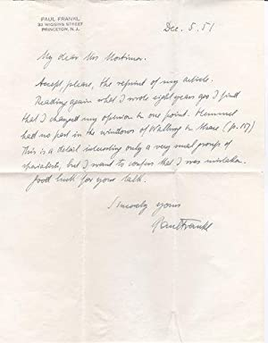 AUTOGRAPH LETTER SIGNED BY PAUL FRANKL CONCERNING HIS EARLIER STATEMENTS REGARDING PETER HEMMEL A...