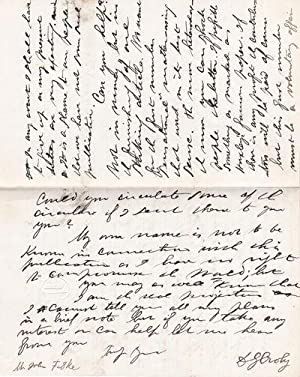 A 3-PAGE AUTOGRAPH LETTER SIGNED BY THE POSITIVIST JOURNALIST DAVID GOODMAN CROLY, Addressed to the...