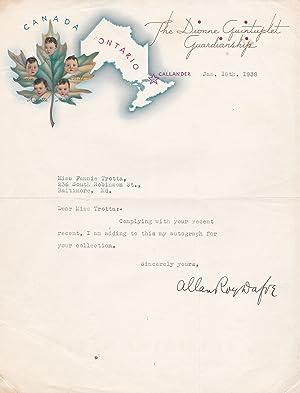 TYPED LETTER SIGNED BY ALLAN ROY DAFOE,: Dafoe, Allan Roy.