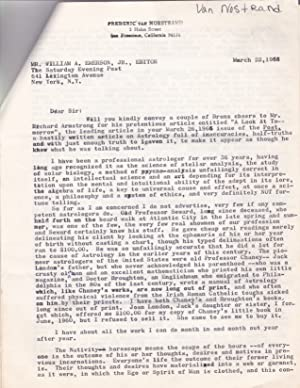 A 6-PAGE TYPED LETTER SIGNED TO THE: Van Norstrand, Frederic.