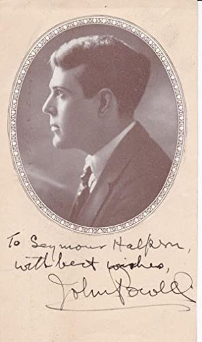 MAGAZINE PORTRAIT INSCRIBED AND SIGNED BY PIANIST,: Powell, John. (1882-1963).