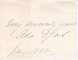 CARD SIGNED BY IRISH ACTRESS ADA DYAS,: Dyas, Ada. (1843-1908).