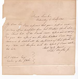 AUTOGRAPH LETTER SIGNED BY THE 14TH GOVERNOR OF NEW YORK AND U.S. SENATOR FROM NEW YORK SILAS WRI...